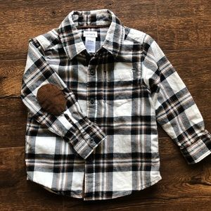 Carter's Fall Plaid Button Up with Elbow Patches